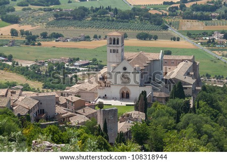 Beautiful view of city Assisi, Italy.