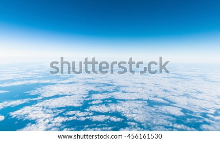 beautiful view of clouds from airplane - stock photo