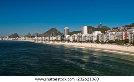 Beautiful View of Copacabana Beach on Sunny Summer Day in Rio de Janeiro, Brazil - stock photo