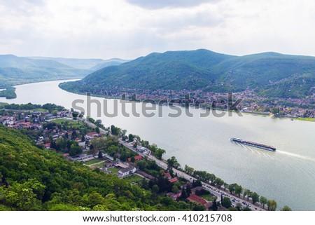 Beautiful view of danube at Visegrad in Hungary - stock photo