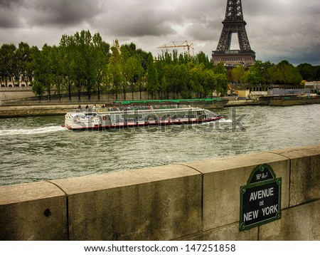 Beautiful view of Eiffel Tower from across Seine river - Paris. - stock photo