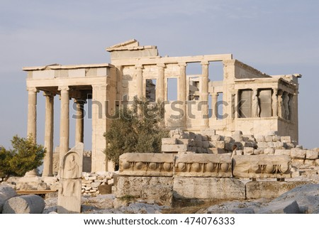 Beautiful view of Erechtheion in summer in Athens, Greece