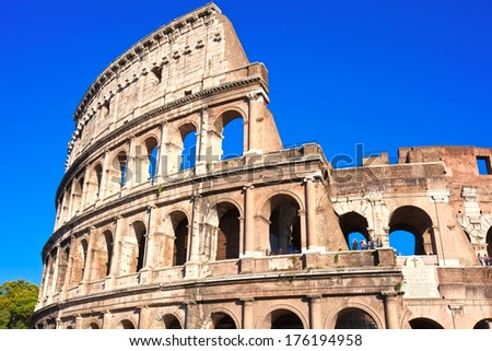 Beautiful view of famous ancient Colosseum in Rome, Italy - stock photo