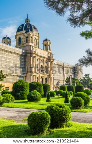 Beautiful view of famous Naturhistorisches Museum (Natural History Museum) with green garden in Vienna, Austria  - stock photo