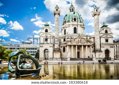 Beautiful view of famous Saint Charles's Church (Wiener Karlskirche) at Karlsplatz in Vienna, Austria - stock photo
