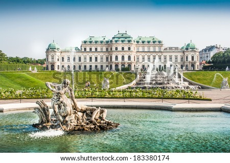 Beautiful view of famous Schloss Belvedere, built by Johann Lukas von Hildebrandt as a summer residence for Prince Eugene of Savoy, in Vienna, Austria - stock photo