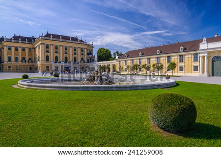Beautiful view of famous Schoenbrunn Palace with Great Parterre garden in Vienna, Austria - stock photo
