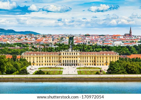 Beautiful view of famous Schonbrunn Palace with Great Parterre garden in Vienna, Austria - stock photo