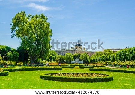 Beautiful view of famous Volksgarten (People's Garden) public park in Vienna, Austria - stock photo