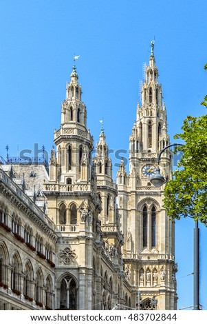 Beautiful view of famous Wiener Rathaus (town hall)  with blue sky, Vienna, Austria