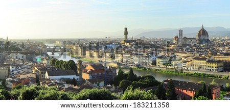 Beautiful view of Florence city at sunset, Italy - stock photo