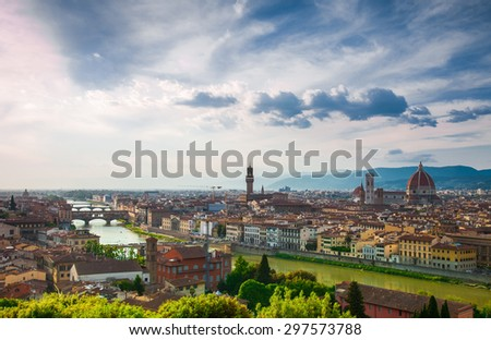 Beautiful view of Florence from Michelangelo's hill in summer day, Italy - stock photo