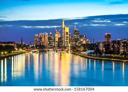 Beautiful view of Frankfurt am Main at dusk, Germany - stock photo