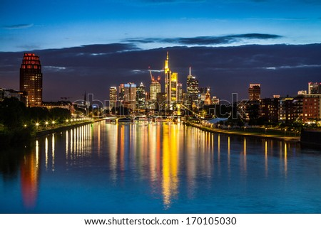 Beautiful view of Frankfurt am Main skyline at night, Germany - stock photo