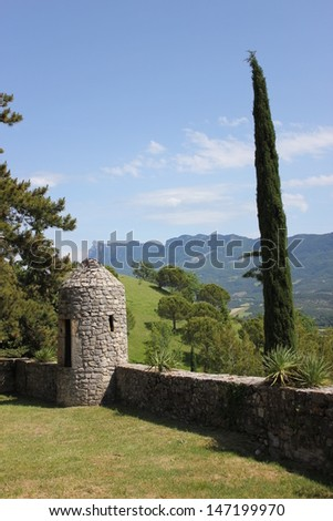 Beautiful view of french garden in Mirabel et Blacons village in south of France, Drome valley - stock photo