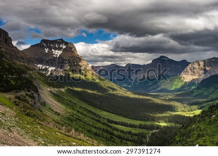 Beautiful view of Glacier National Park belong Going to the sun road, Black and White - stock photo