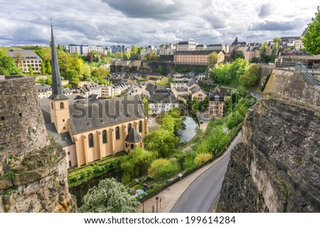 Beautiful view of Grund from the Corniche, Luxembourg City - stock photo