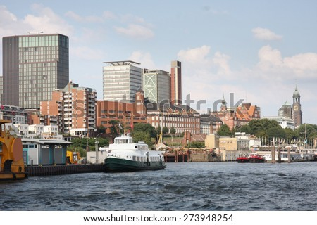 Beautiful view of  Hamburger with harbor, Hamburg, Germany - stock photo