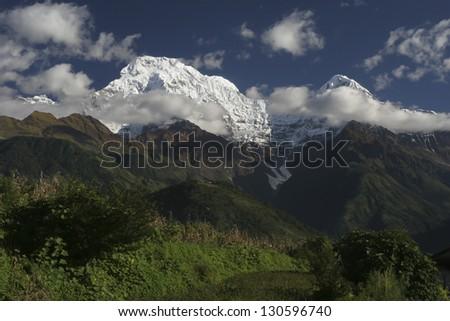 Beautiful view of Himalayan mountains, sunset in Annapurna - stock photo