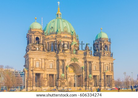 Beautiful view of historic Berlin Cathedral (Berliner Dom) at famous Museumsinsel (Museum Island)