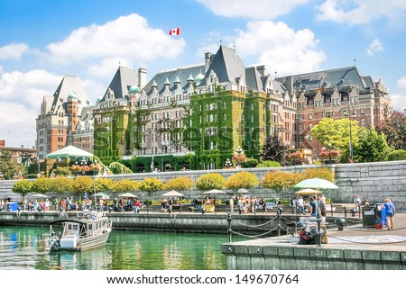 Beautiful view of Inner Harbour of Victoria, Vancouver Island, B.C., Canada - stock photo