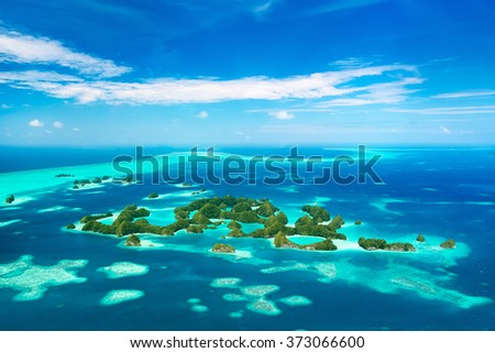 Beautiful view of 70 islands national park in Palau from above - stock photo