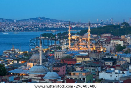Beautiful view of Istanbul with illumination in summer twilight - stock photo