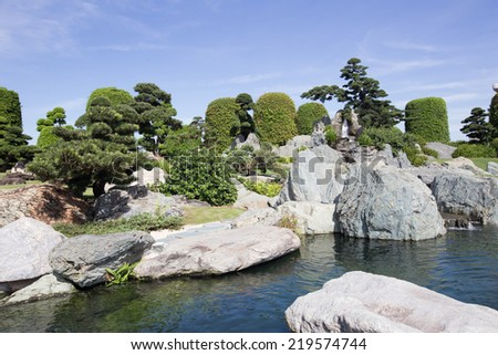 Beautiful view of Japan park style in VietNam - stock photo