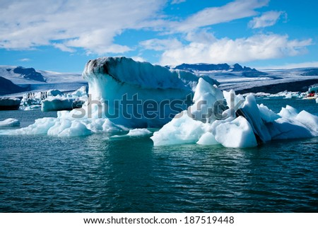 beautiful view of Jokulsarlon Glacial Lagoon in Iceland
