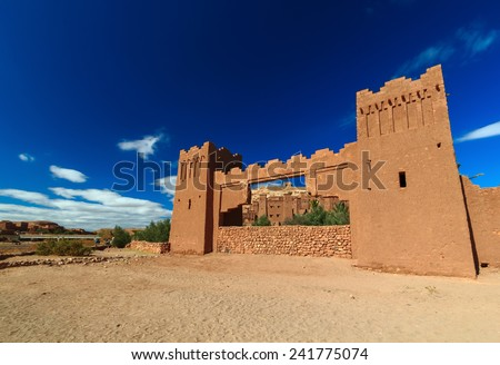 Beautiful view of kasbah Ait ben Haddou in Morocco - stock photo