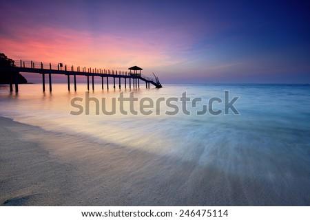 Beautiful view of Kerachut Beach, Penang National Park during sunset. Nature composition. - stock photo