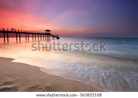 Beautiful view of Kerachut Beach, Penang National Park during sunset, with copy space area. Nature composition. - stock photo