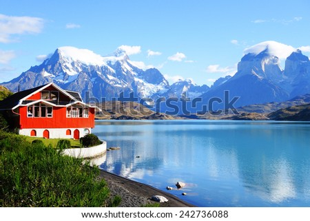 Beautiful view of Lake Pehoe, Torres Del Paine, Patagonia, Chile - stock photo