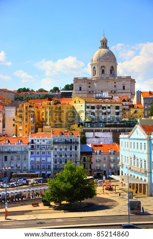 Beautiful view of Lisbon old city, Portugal - stock photo