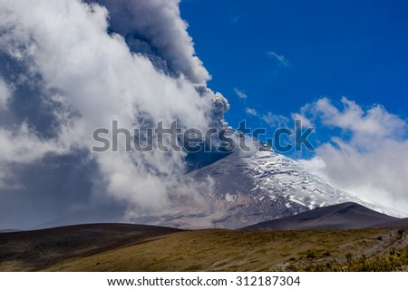 Beautiful view of magnificent Cotopaxi volcano erupting in Ecuador, South America - stock photo