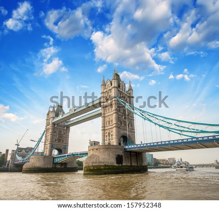 Beautiful view of magnificent Tower Bridge, icon of London, UK - stock photo