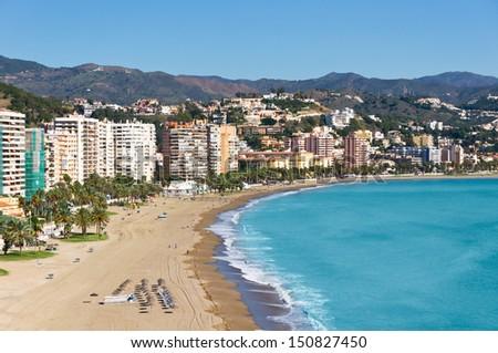 Beautiful view of Malaga city, Spain - stock photo