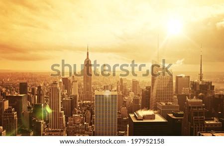 beautiful view of Manhattan skyline at sunset - stock photo
