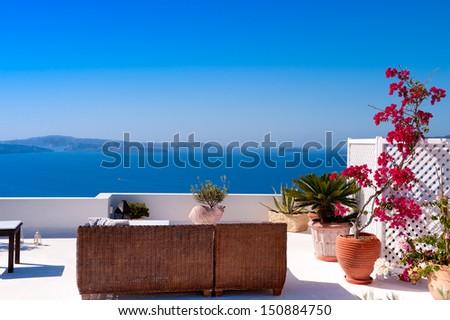 Beautiful View of Mediterranean Santorini Aegean Sea Seascape - stock photo