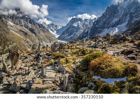 Beautiful View Of Mer De Glace Glacier From Le Signal Forbes - Mont Blanc Massif, Chamonix, France - stock photo