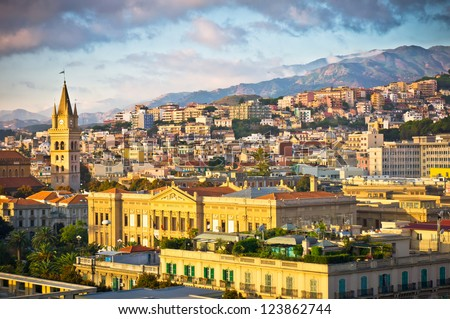 Beautiful view of Messina old city, Sicily, Italy - stock photo