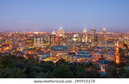 Beautiful view of Montreal after sunset, in quebec Canada - stock photo