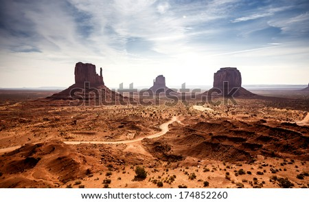 Beautiful view of Monument Valley in Utah and Arizona - stock photo
