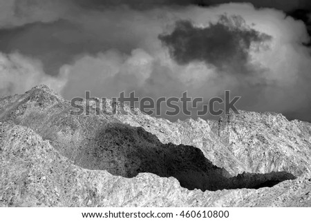 Beautiful view of moonland ,Leh, Ladakh, Jammu and Kashmir, India. It's rock formation and texture looks like a part of moon on earth, hence the name. Black and white image.