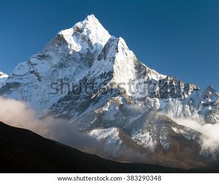 beautiful view of mount Ama Dablam - way to Everest base camp, Khumbu valley, Solukhumbu, Sagarmatha national park Nepal - stock photo