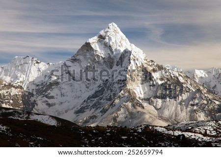 beautiful view of mount Ama Dablam - way to Everest base camp - Nepal - stock photo