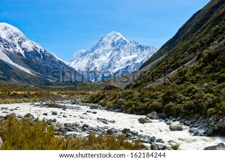 Beautiful view of Mount Cook, South Island, New Zealand