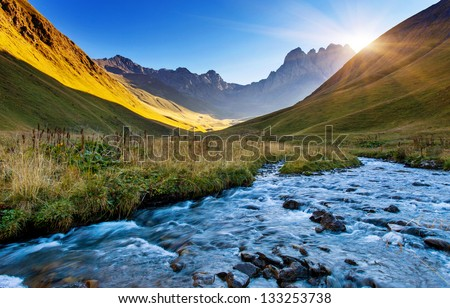 Beautiful view of mountain river in summer. Juta village - foot of Mt Chaukhebi. Georgia, Europe. Caucasus mountains. Beauty world. - stock photo