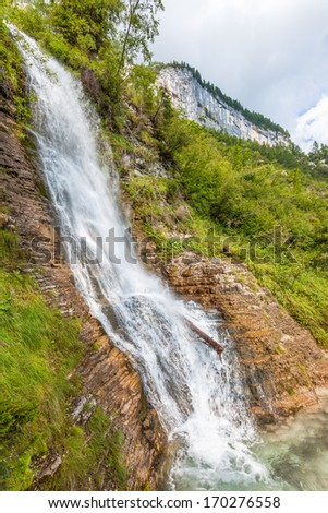 Beautiful view of mountain waterfall