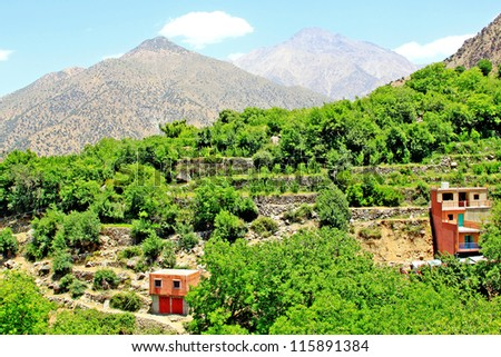 Beautiful view of mountains and a village (Atlas mountains, Morocco) - stock photo